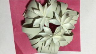 クリスマスリース 折り紙で手作り☆百均材料で簡単楽しく 6